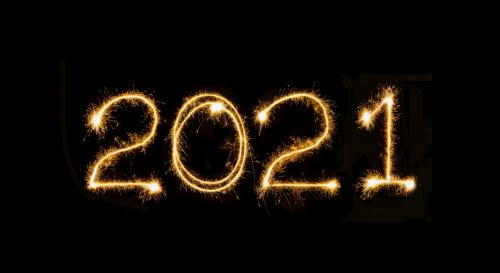 2021 written in sparklers