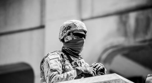 US soldier wearing a face covering